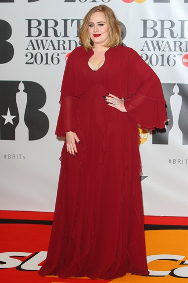02/24/2016 - Adele - BRIT Awards 2016 - Arrivals - O2 Arena - London, UK - Keywords: Vertical, Red Carpet Arrival, Attending, Topics, Music, Award, England, United Kingdom, Britain, British, Red Carpet Event, Arts Culture and Entertainment, Topix, Bestof, Celebrity, Celebrities, Person, People, Ref: LMK73-60035-250216 Orientation: Portrait Face Count: 1 - False - Photo Credit: Landmark / PR Photos - Contact (1-866-551-7827) - Portrait Face Count: 1