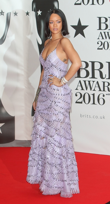 02/24/2016 - Rihanna - BRIT Awards 2016 - Arrivals - O2 Arena - London, UK - Keywords: Vertical, Red Carpet Arrival, Attending, Topics, Music, Award, England, United Kingdom, Britain, British, Red Carpet Event, Arts Culture and Entertainment, Topix, Bestof, Celebrity, Celebrities, Person, People, Ref: LMK73-60035-250216 Orientation: Portrait Face Count: 1 - False - Photo Credit: Landmark / PR Photos - Contact (1-866-551-7827) - Portrait Face Count: 1