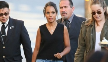 "02/18/2016 - Kerry Washington - ""Jimmy Kimmel Live!"" - February 18, 2016 - ""Jimmy Kimmel Live!"" Studio - Los Angeles, CA, USA - Keywords: Open Toe High Heel Shoes, Full Length Shot, Black Purse, Clutch, Pocketbook, Handbag, Bag, Ring, Torn Blue Denim Jeans, Black Sleeveless Blouse, Necklace, Pendant, Earrings, Jewelry, Pulled Back Long Brown Hair, Brunette, Updo, Woman, American actress, Olivia Pope, ""Scandal"", Vertical, Television Show Arrival, Arriving, Photography, Arts Culture and Entertainment, Person, People, Celebrity, Celebrities, Walking, Candid, Bestof, Topix, Hollywood, California Orientation: Portrait Face Count: 1 - False - Photo Credit: jmx / PRPhotos.com - Contact (1-866-551-7827) - Portrait Face Count: 1"