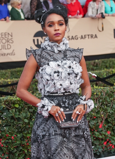 01/29/2017 - Janelle Monae - 23rd Annual Screen Actors Guild Awards - Arrivals - The Shrine Expo Hall, 665 W Jefferson Boulevard - Los Angeles, CA, USA - Keywords: Red Carpet Event, Annual Event, Actor, Award, Ceremony, 2017 SAG Awards, Portrait, Photography, Fashion, Arts Culture and Entertainment, Attending, Celebrities, Celebrity, Person, People City of Los Angeles, California Orientation: Portrait Face Count: 1 - False - Photo Credit: PRPhotos.com - Contact (1-866-551-7827) - Portrait Face Count: 1